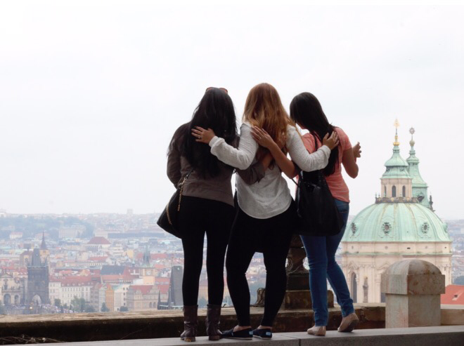 My friends and I overlooking the city of Prague