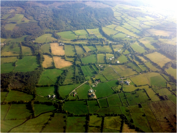 Airplane view of Ireland