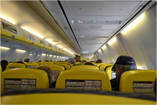 Inside of RyanAir flight